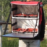 "PK-54A:Heat Insulated Food Delivery Bag with Divider, Side Loading, Zipper Closure, 16"" L x 9"" W x 18"" H"