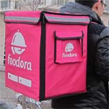 PK-65D:Foodora Pizza Delivery Thermal Backpack, Rider Bags, Side + Top Loading, 16